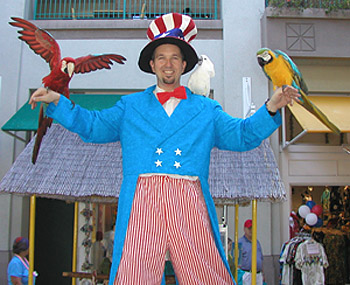 Uncle Sam with some fine feathered friends.